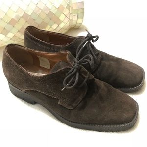 "BALLY ""Nolesine"" Brown Suede Lace Up Oxfords 36"